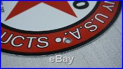 Vintage Texaco Porcelain Sign Gas Motor Oil Service Station Pump Red Star Rare