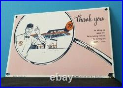 Vintage Union 76 Gasoline Porcelain Gas Motor Oil Service Station Pump Sign