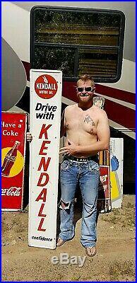 Vintage Vertical Kendall Motor Oil Sign Gasoline Gas Oil 72X12