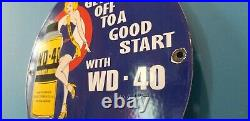 Vintage Wd 40 Porcelain Gas Motor Oil Lube Service Station Pump Plate Sign