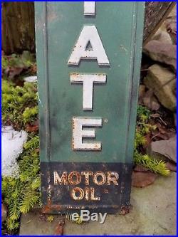 Vintage old original quaker state motor oil metal display sales sign gas rare