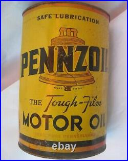 Vtg 1930's PENNZOIL United Airlines DC-3 Airplane Owl Wise 5 Quart Motor Oil Can
