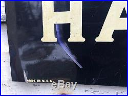 Vtg 1947 Havoline Motor Oil Sign Tin Double Sided DST 21.5x11.25 Texaco Gas