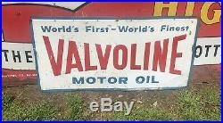 Vtg 1969 Valvoline Motor Oil Sign Embossed Tin 36 Gas Station Advertising