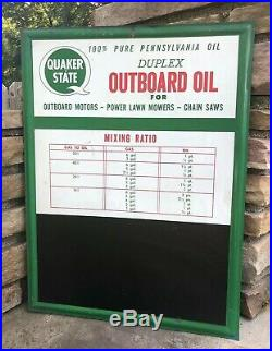 Vtg 1970s Quaker State Duplex Outboard Motor Oil Tin Sign Chalkboard Boats Nice