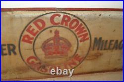Vtg-Antique Red Crown Gasoline Polarine Motor Oil Large 2-Sided Metal Sign 60x28