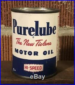 Vtg Hi-Speed Purelube Tiolene Motor Oil Advertising Oil Can Coin Bank Scarce
