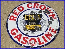 Vtg Red Crown Ethyl Gasoline Motor Oil Double Sided Porcelain Lollipop 30 Sign