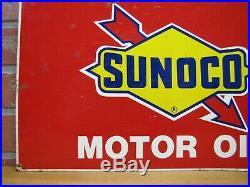 Vtg SUNOCO MOTOR OIL Sign Gas Station Repair Shop Advertising Petroliana