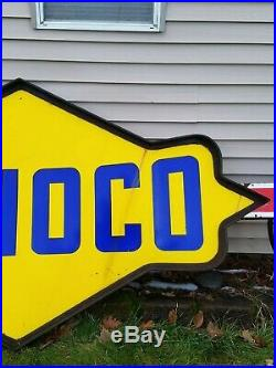 Vtg Sunoco Gas Station Gasoline Motor Oil Double Sided Porcelain Sign 11' Feet