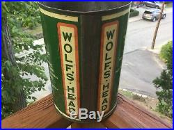 Wolfs Head Wolverine Empire Refining 5 Qt Motor Oil Can Sign Pump