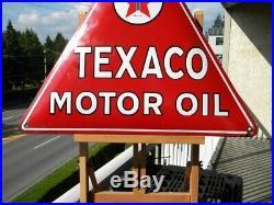 XL TEXACO MOTOR OIL VINTAGE PORCELAIN SIGN 22-1/2 x 19-1/2 GAS STATION PUMP